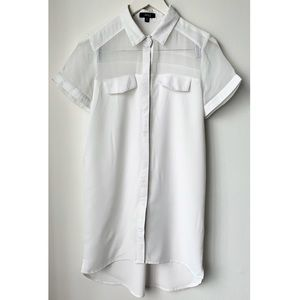 Tops - Long white button down top